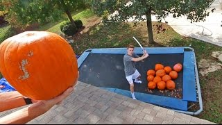 TRAMPOLINE VS PUMPKINS!