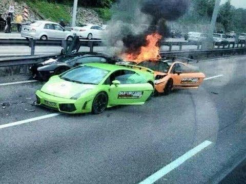 Million Dollar Lamborghini Bonfire Slow Motion Crash Crazy Youtube