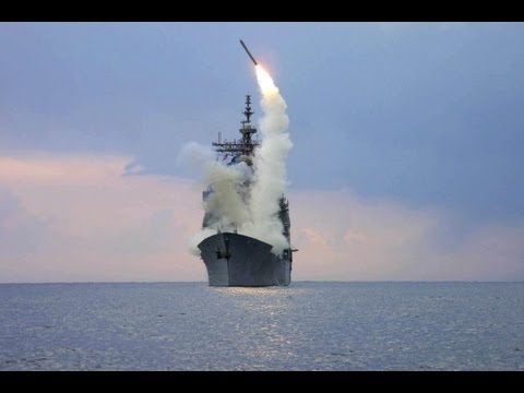 U S  Navy Destroyer launches Tomahawk cruise missiles
