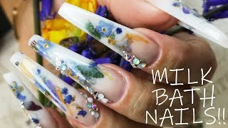 Milk Bath Acrylic Nails with REAL FLOWERS