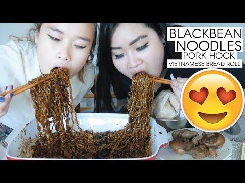 Mukbang Black Bean Noodles + Pork Hock + Banh Mi Thit