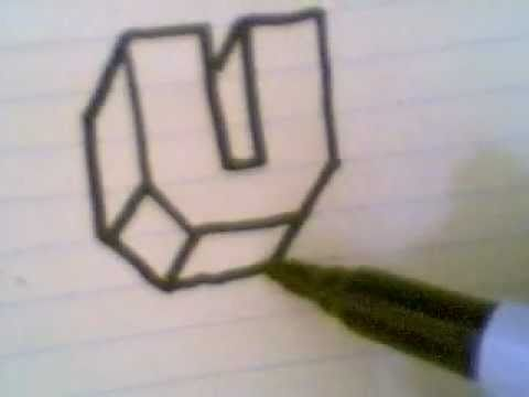 how to draw a u in 3d letters