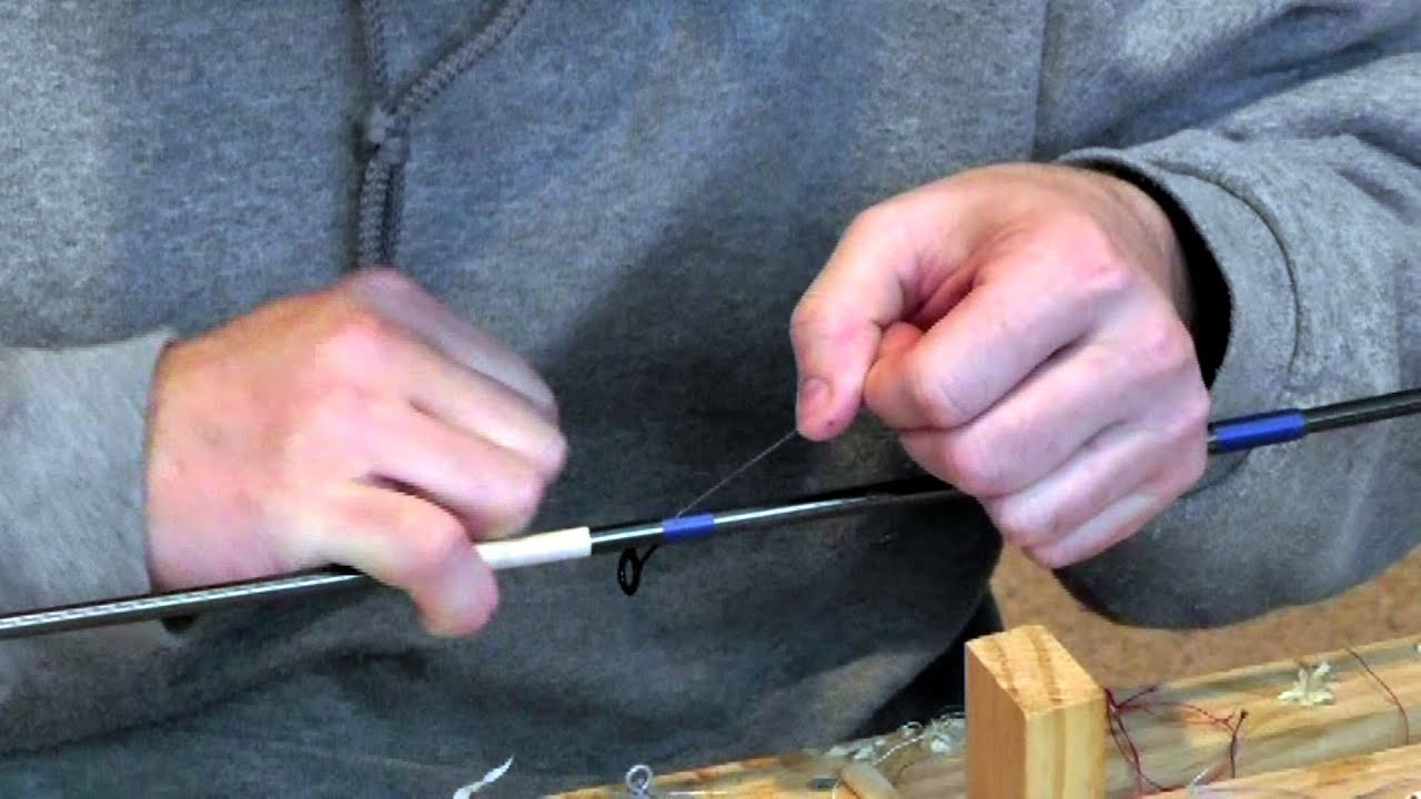 Fishing rod building guide wrapping basics youtube for Fishing rod handle wrap