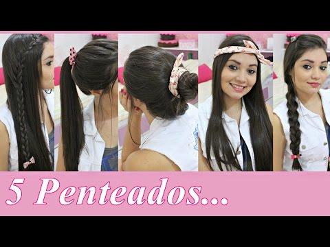 5 Penteados simples e fáceis para Escola/Faculdade ♥
