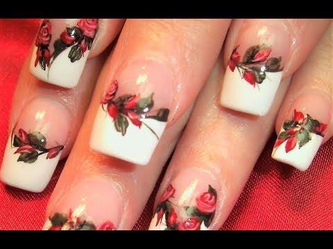 Red Rose Nails | DIY Elegant Flower Roses Nail Art Design Tutorial