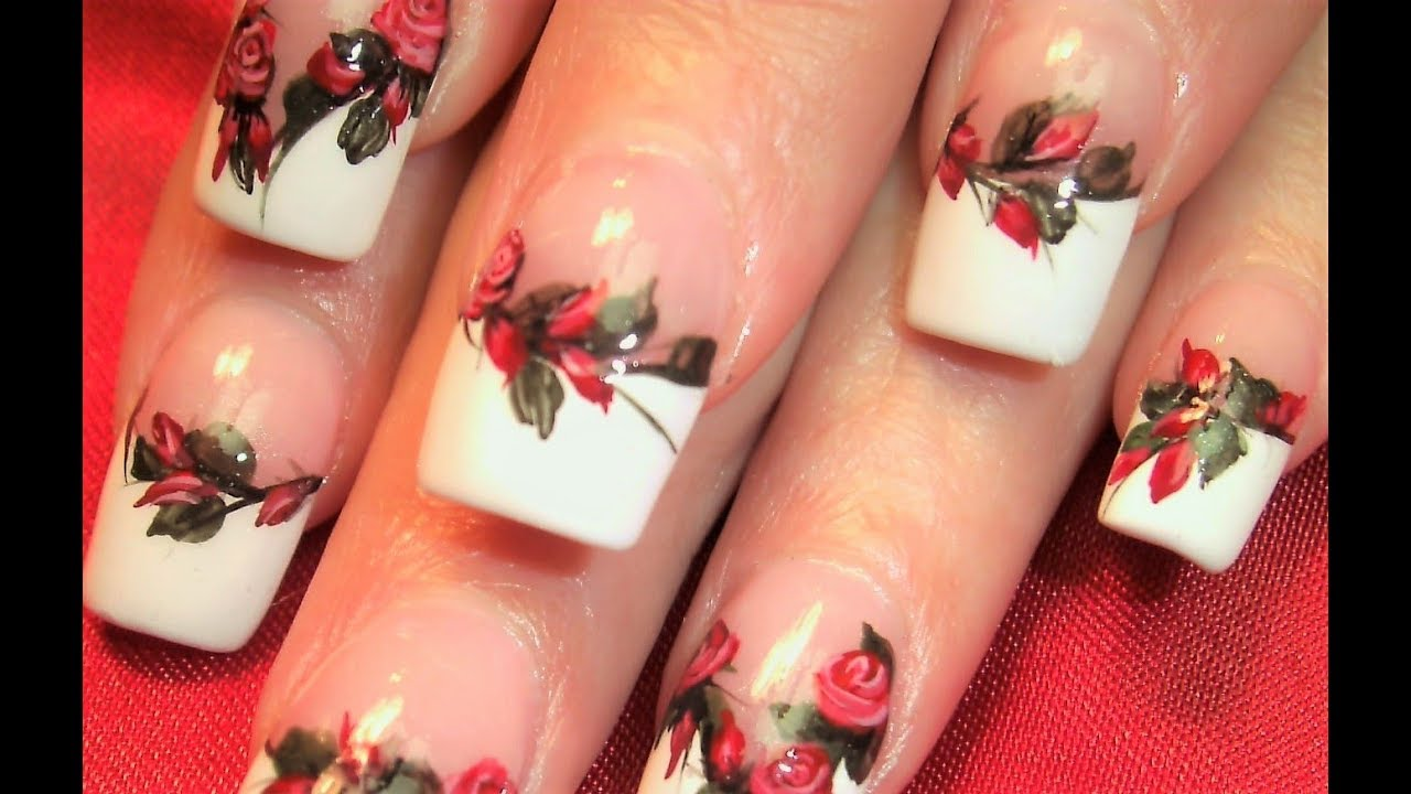Flower Nails! Elegant Rich Red Rose Nail Art Design Tutorial  YouTube