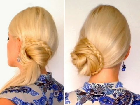 Braided ponytail hairstyle for long hair tutorial Side bun everyday updo for work, school