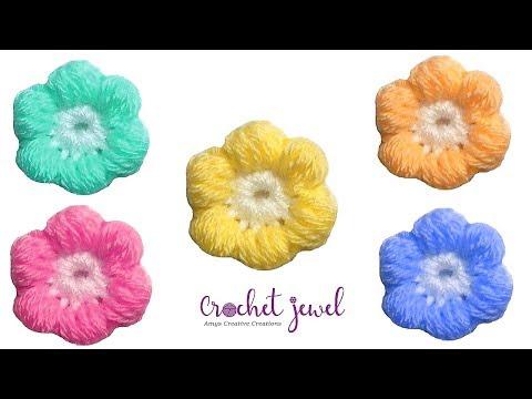 Crochet Puff Stitch Flower Tutorial