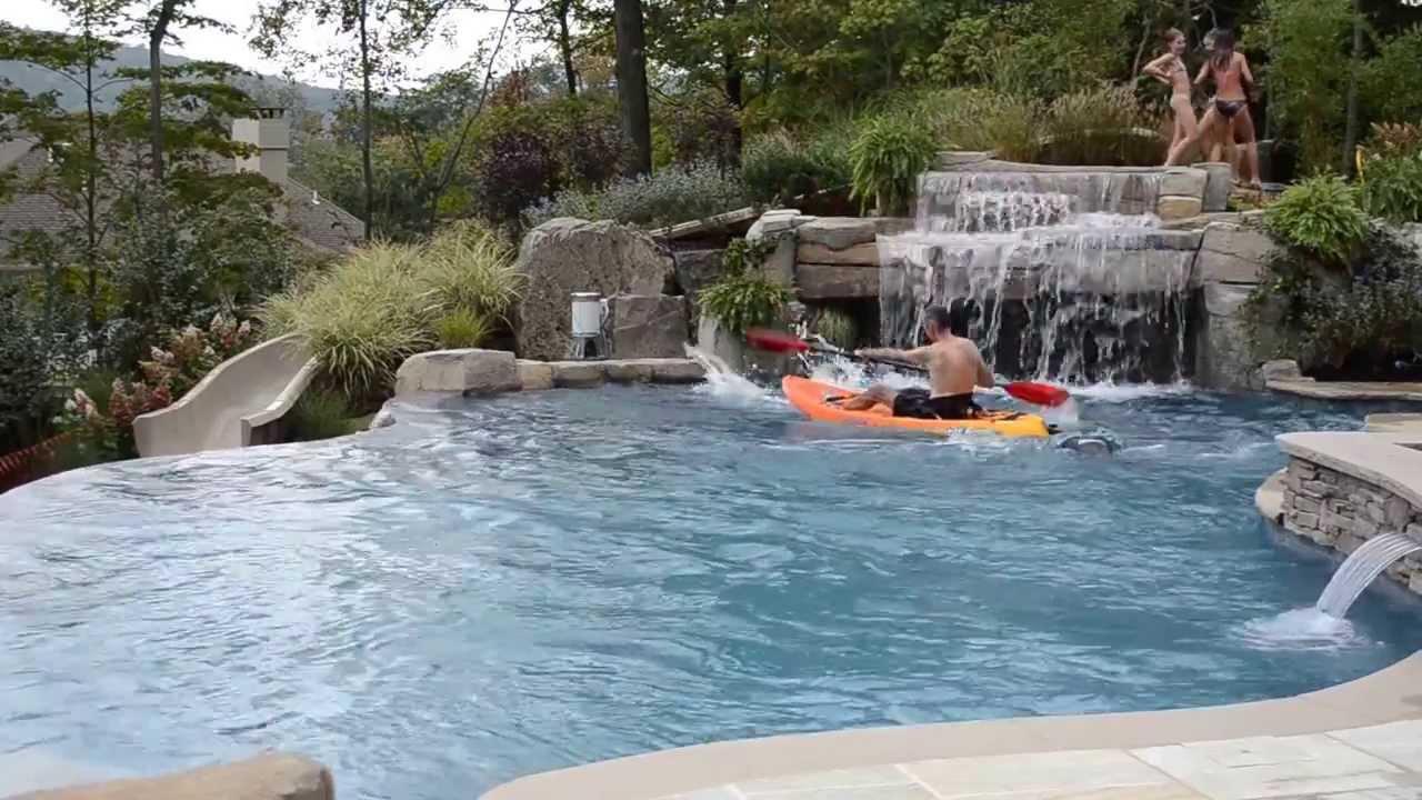Fun Inground Swimming Pool Design with Slide & Kayaking ... Swimming Pool Designs With Slides
