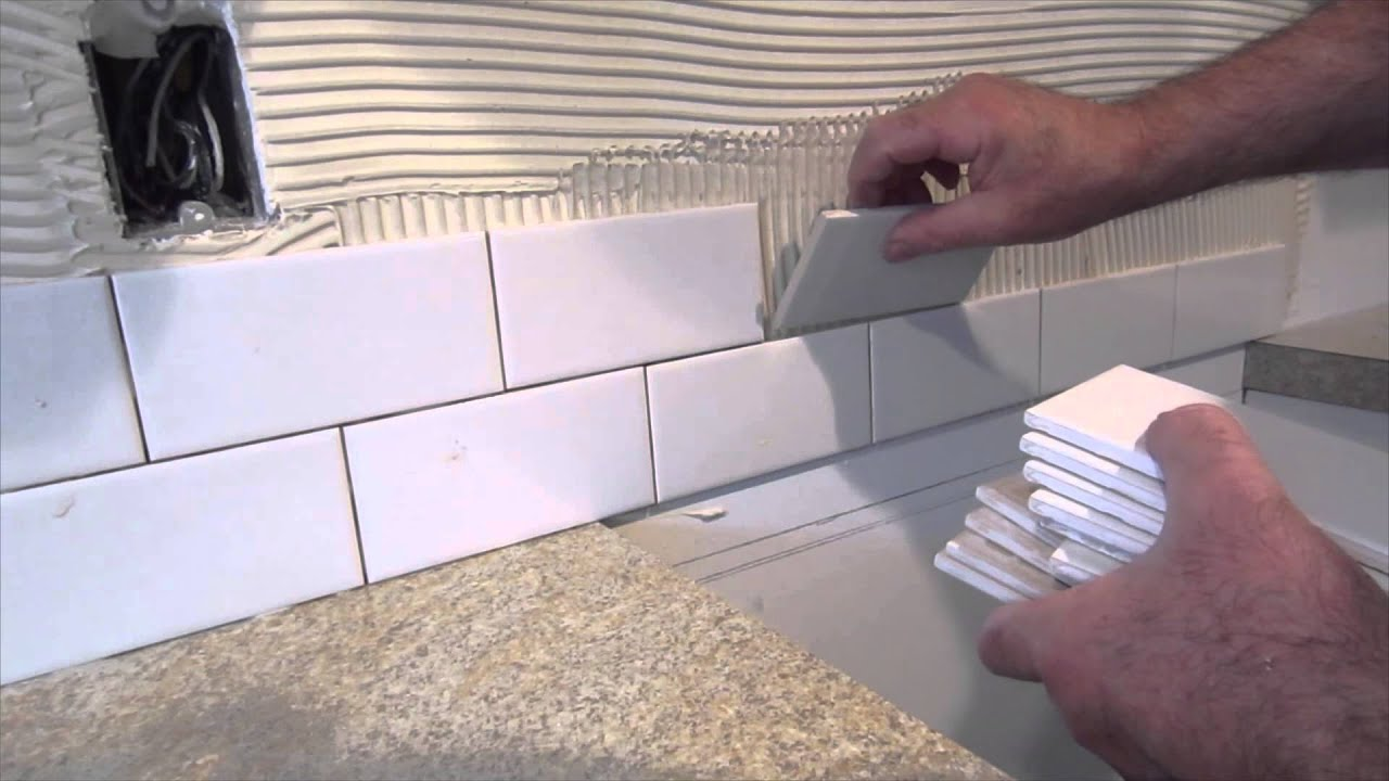 how to install tile backsplash casual cottage how to install glass tile kitchen backsplash youtube