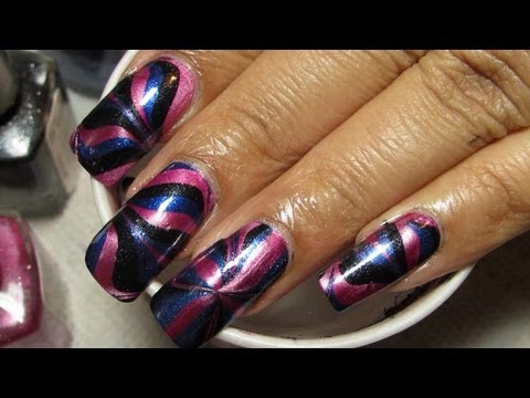Metallic Pink Black & Blue Water Marble Nail Art Tutorial (Water Marble March 2013 #5)