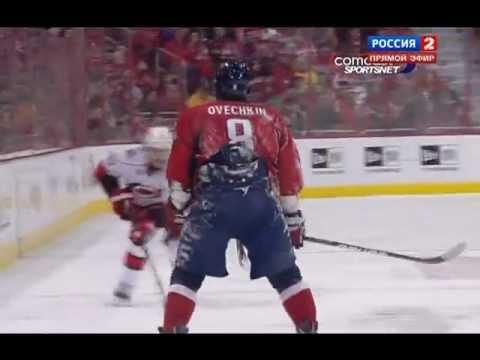 Alex Ovechkin hits Tuomo Ruutu (Hurricanes & Capitals), January 15, 2012