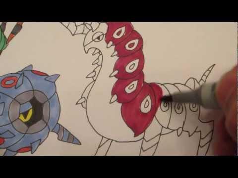 How to draw Pokemon: No.543 Venipede, No. 544 Whirlipeda, No.545 Scolipede