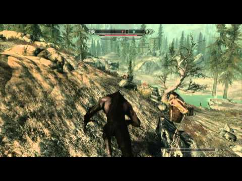 Skyrim - Werewolf versus Two Giants (Adept Difficulty)