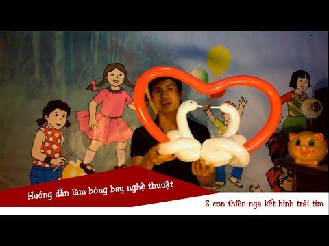 Bóng bay nghệ thuật - Tạo hai con thiên nga kết hình trái tim | Balloon Twisting