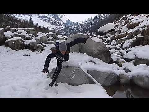 Jumping on snow funny accident