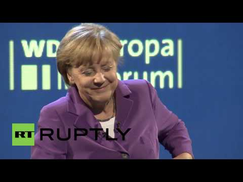 Germany: Merkel teased as 'Putin' call interrupts speech
