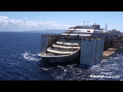 Timelapse of Costa Concordia towed to Genoa for scrapping
