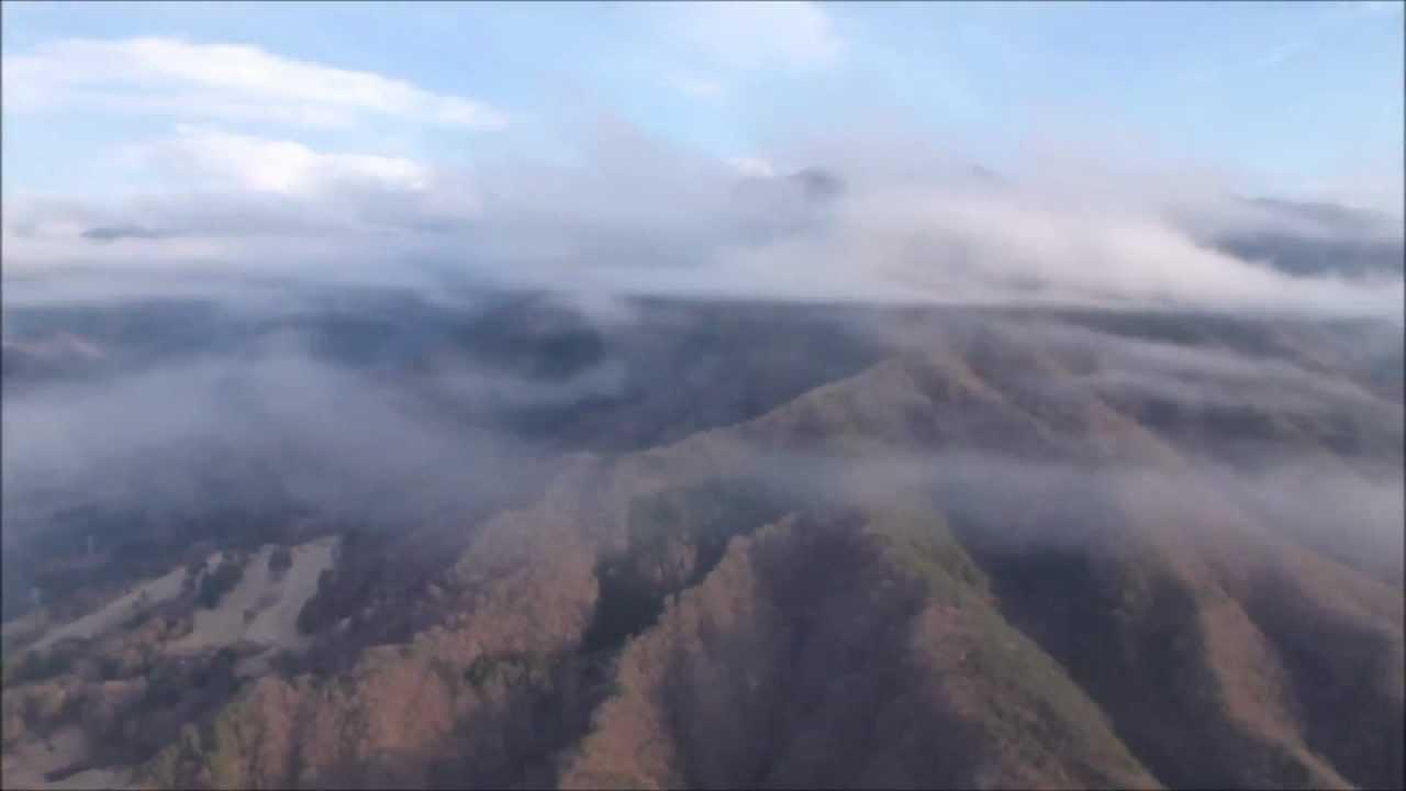 ichiroo7 2012 12 15山梨甲府盆地絶景雲海フライト パラグライダー空撮 ...