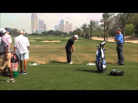 Richard Sterne swing on the range at the 25th Omega Dubai Desert Classic