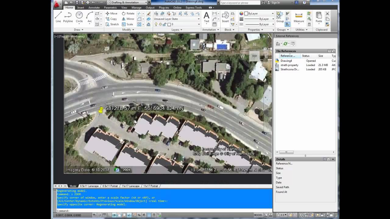 autocad tutorial  insert  georeference google earth image