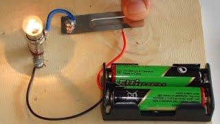 Basit Elektrik Devresi - lamba, pil ve anahtar