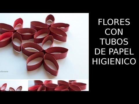 Reciclaje de Papel, Flores Con Tubos de Papel Higienico, Manualidades con Papel Reciclado.