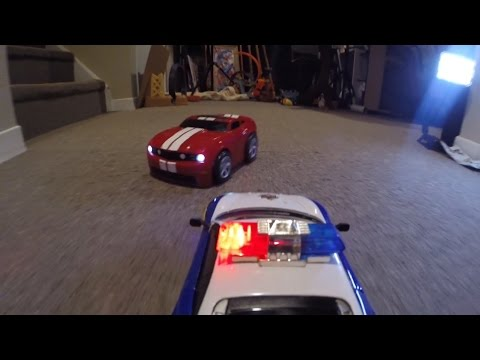 RC POLICE CHASE Monster Truck Action CRASHES Toy FUN!