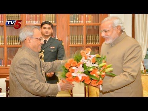 Narendra Modi meets President Pranab Mukherjee Today