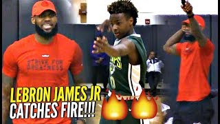 LeBron James Jr CATCHES FIRE w/ LeBron LOVING Every Second of It!! Proud Dad LeBron!