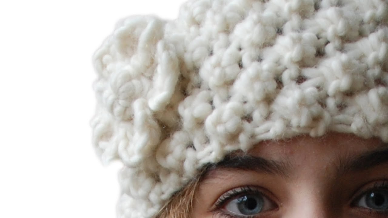 Crochet Hair Band Youtube : TRINITY STITCH HEAD BAND OR EAR WARMER WITH CROCHETED FLOWER - YouTube