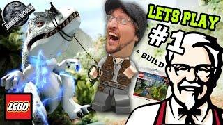 Lets Play LEGO Jurassic World Part 1:  KFC is DINOSAUR MEAT! (FGTEEV GAMEPLAY) w/ Gallimimus Trap