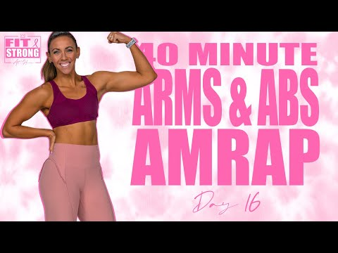 40 Minute Arms and Abs AMRAP Workout | Fit & Strong At Home - Day 16
