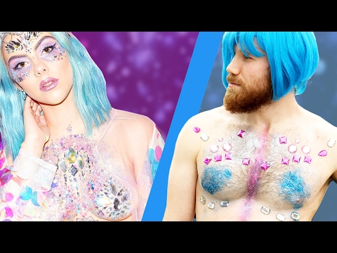 Guys Try The Glitter Boobs Beauty Trend