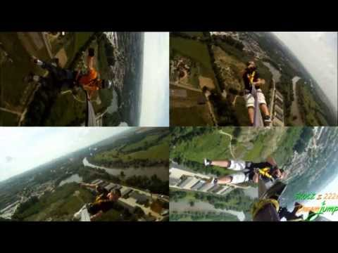 Dream Jump 222m best of 2011 - World's longest Free fall 8sek from a roof