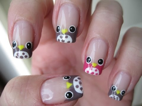 Nail art: French manicure owls (easy)