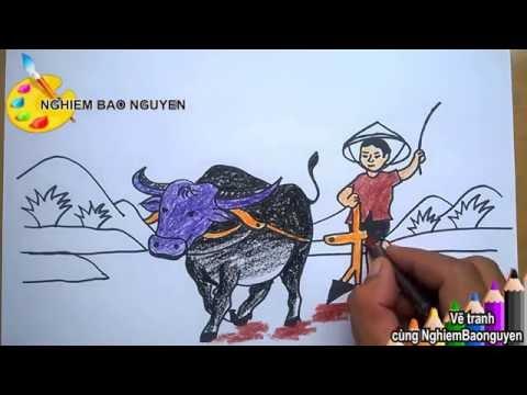 Vẽ tranh Bác nông dân cày ruộng/How to Draw farmer plowing