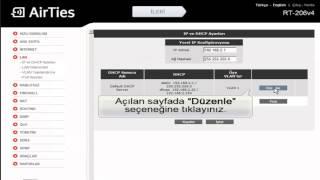 AirTies Modemi erişim noktası (Access Point) olarak kullanma