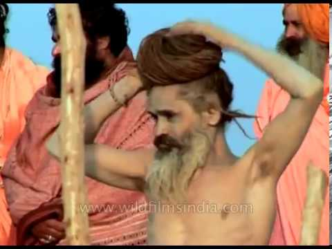 Naga sadhus on the banks of river Ganga during Ardh Kumbh Mela in 2007