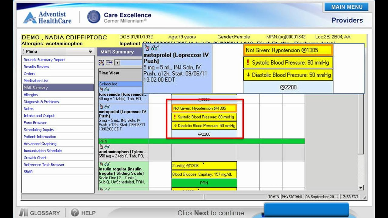 Cerner Medication Administration Record (MAR) Demo - YouTube
