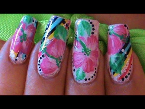 Wedding bridesmaids special event nail art design tutorial nail retro summer hibiscus one stroke flower nail art tutorial prinsesfo Choice Image