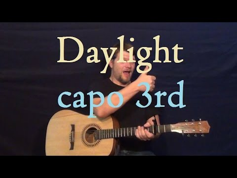 Daylight (Maroon 5) Easy Strum Guitar Lesson -How to Play Tutorial G Am F C