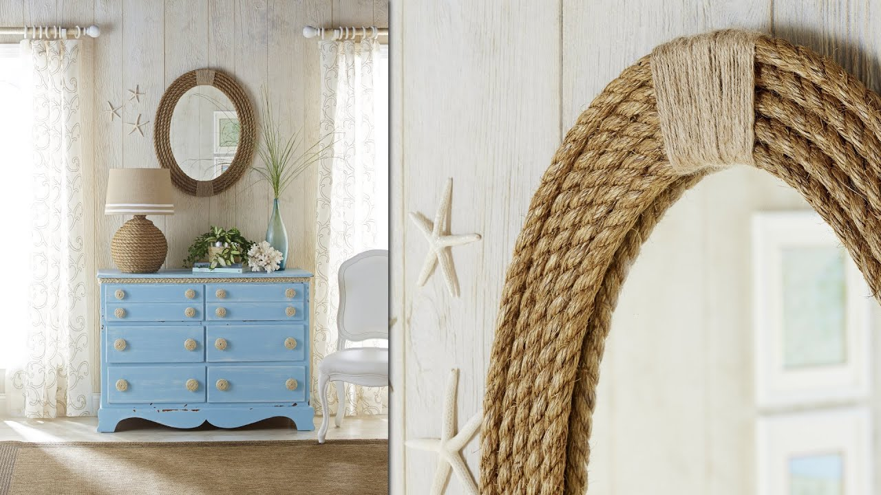Nautical rope mirror frame diy rope projects youtube for Rope projects
