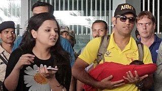 IANS: Watch: Dhoni with little Ziva at Kolkata Airport
