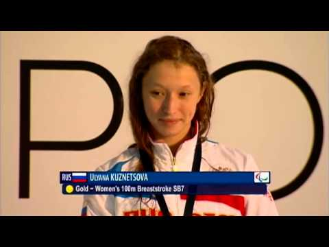 Swimming - women's 100m breaststroke SB7 medal ceremony - 2013 IPC Swimming World Championships