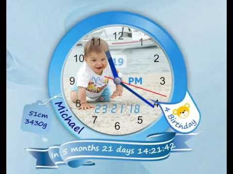 [Image: create your child Baby desktop clock App - Michael Design, App uses high fidelity vector graphics]