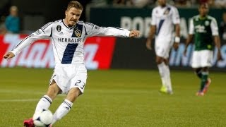 David Beckham Free Kick LA Galaxy vs Portland Timbers