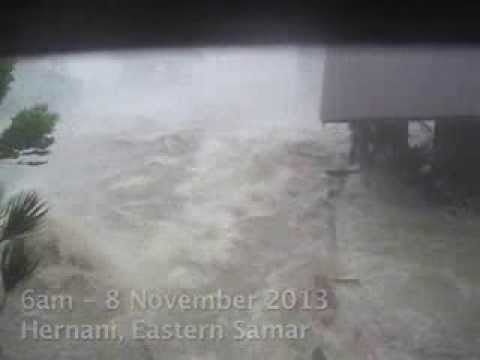 Eyewitness footage of Typhoon Haiyan washing house away