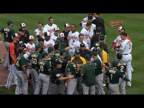 OAK@BAL: Tossed bat starts altercation in Baltimore
