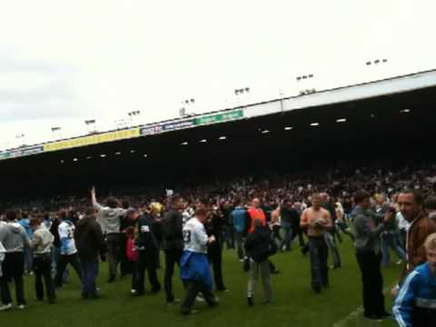 Leeds United Promotion Celebrations May 2010. Pitch invasion versus Bristol Rovers at Elland Road.